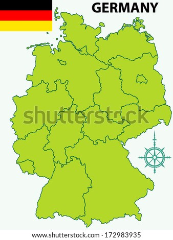 Contour map of the Germany with flag and windrose. All objects are independent and fully editable
