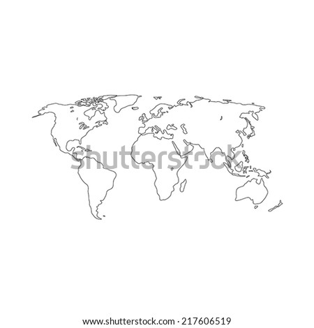 Contour map of the world. Vector illustration. - stock vector
