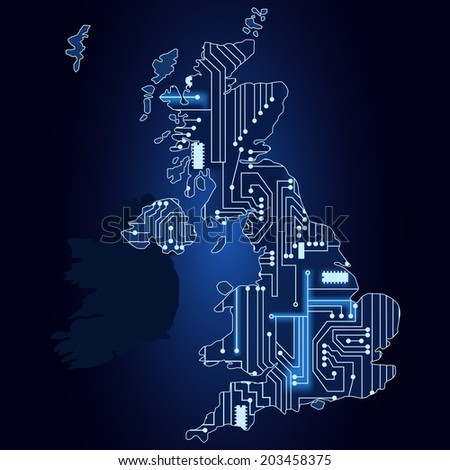Contour map of United Kingdom with a technological electronics circuit. Map of United Kingdom with electronic circuit - stock vector