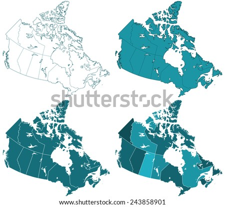 Contour maps of the Canada. All objects are independent and fully editable  - stock vector