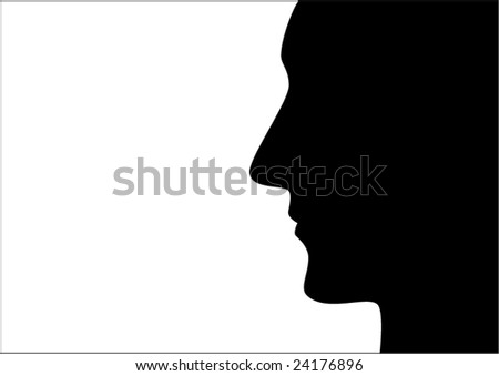 Contour of man's face