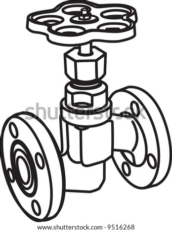 Contour of valve. Vector illustration - stock vector