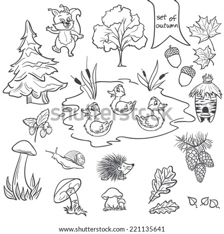 Contour set on a white background on a theme of autumn animals, trees, mushrooms, leaves - stock vector