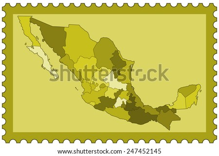 Contour silhouette border map of the Mexico on postage stamp. All objects are independent and fully editable.  - stock vector