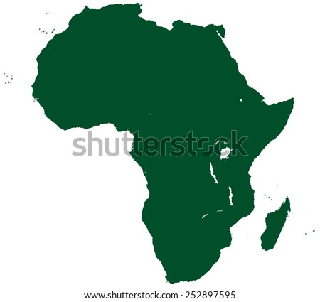 Contour silhouette map of the Africa. All objects are independent and fully editable   - stock vector