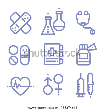 Contour simple medical icons set, modern line style - stock vector