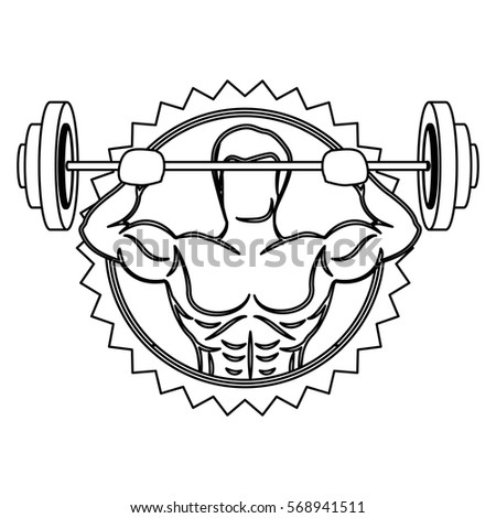 contour stamp border with muscle man lifting a disc weights