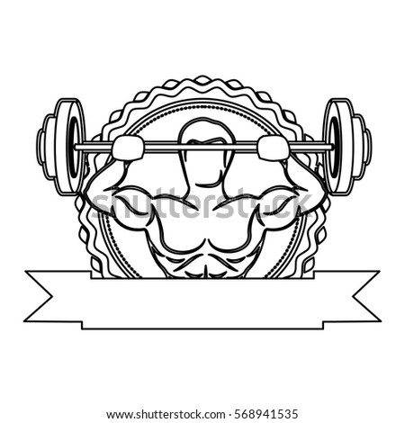 contour sticker frame with muscle man lifting a disc weights and label