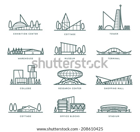 Contour stylized modern flat draft city buildings set. Museum, Cottage, College, Office Blocks, Towers, Stadium, Marketplace, University, Warehouse, Terminal. Vector graphic collection, logo templates - stock vector