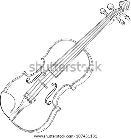 White Violin Drawing Violin Contour Vector Drawing