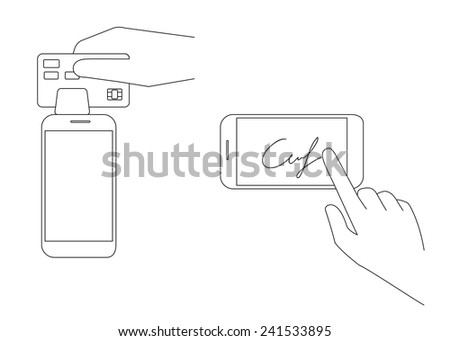 Contour vector illustrations of mobile acquiring with signature via smartphone. Line thickness fully editable - stock vector