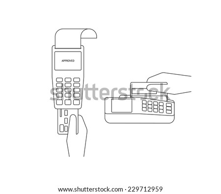 Contour vector illustrations of payment by credit card. Line thickness fully editable - stock vector
