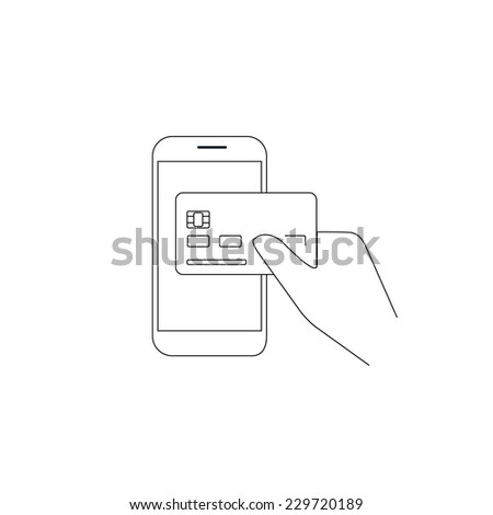 Contour vector illustrations of payment by credit card via smartphone. Line thickness fully editable - stock vector