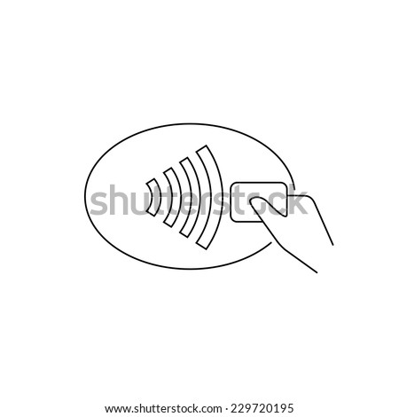 Contour vector illustrations of payment via nfc. Line thickness fully editable - stock vector