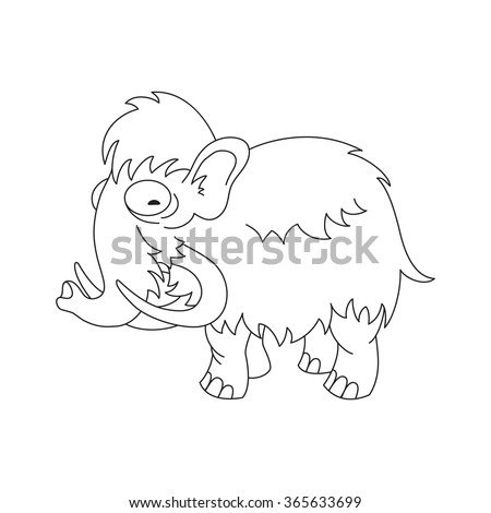 Contour vector image of a cute woolly mammoth.