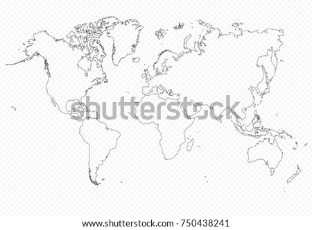 Contour world map flat on isolated stock vector 2018 750438241 contour world map flat on isolated background very detailed vector globe template ideal gumiabroncs Images