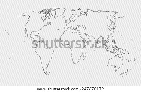 Contour world map on gray background - stock vector