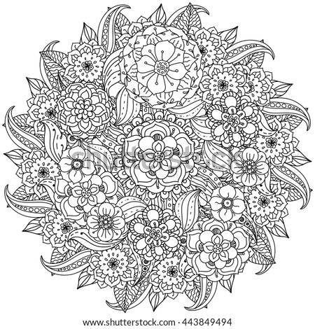 Zen Mandalas Coloring Book : Contoured mandala shape flowers adult coloring stock vector