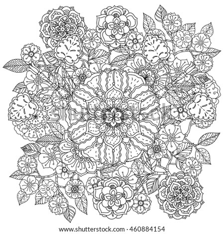 Contoured Mandala Shaped Flowers And Leaves For Adult Coloring Book Or Art Therapy Style Zen Drawing