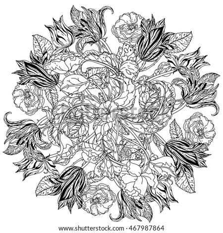 Contoured Victorian Garden Flowers And Leaves In Mandala Shape For Adult Coloring Book Hand