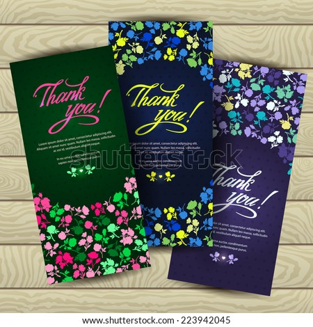 "Contours of multicolored flowers with the words ""Thank you"". Three bright and contrast banners. Vector modern Invitation, greeting, congratulation on a wooden background. Romantic style set. - stock vector"
