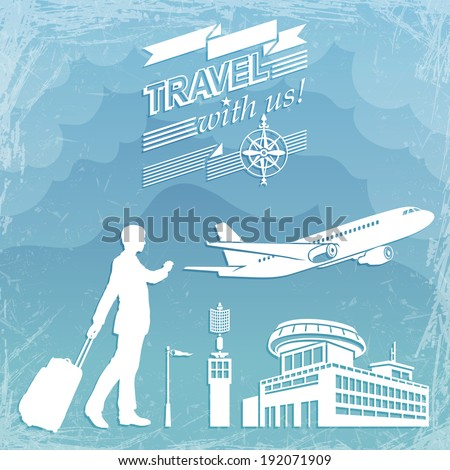 Contours on Flight and Travel with a Blue Sky Background in Grunge Style - stock vector