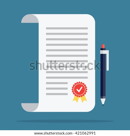 Contract icon in a flat style - stock vector