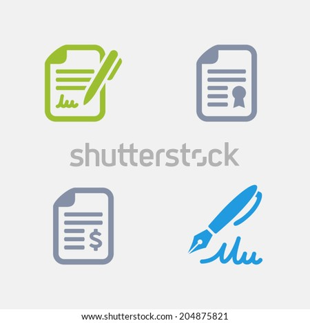 Contract Icons. Granite Series. Simple glyph stile icons in 4 versions. The icons are designed at 32x32 pixels. - stock vector