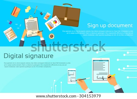 Contract Sign Up Paper Document Businessman Agreement Digital Signature Tablet Computer Smart Cell Phone Web Banner Flat Vector Illustration - stock vector