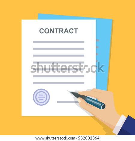 Contract Signing Man Signs Document Stamped Stock Vector Hd Royalty