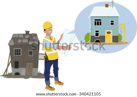 Contractor standing in front of an old worn down house, showing a plan of renovation, EPS 8 vector illustration - stock vector