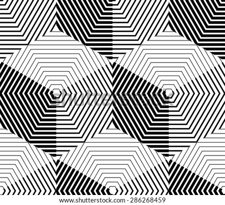 Contrast black and white symmetric seamless pattern with interweave figures. Continuous geometric composition, for use in graphic design. - stock vector