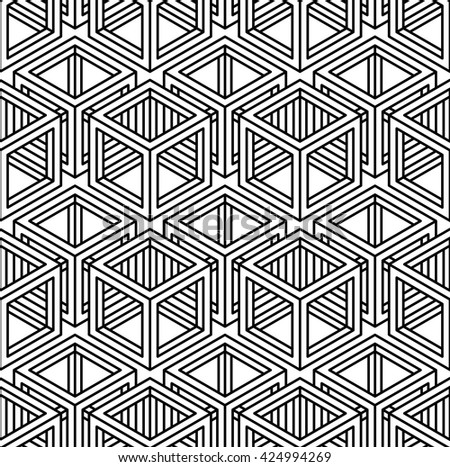 Contrast black and white symmetric seamless pattern with interweave figures. Continuous geometric composition, for use in graphic design.