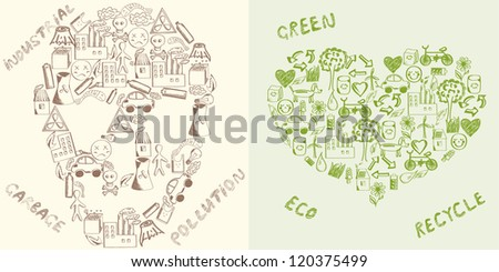 Contrasting concepts of the sustainable development and environmentally damaging development - stock vector