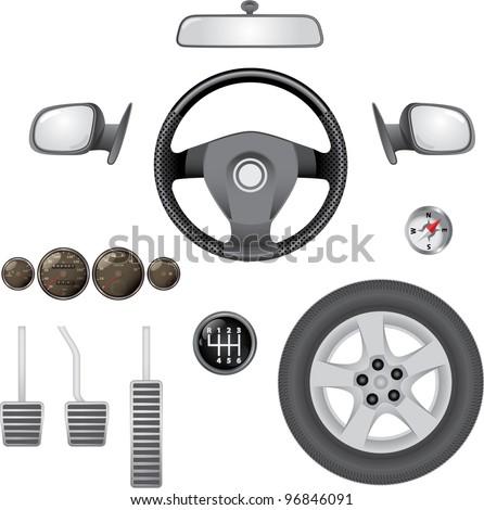 control elements of car - realistic illustration - stock vector