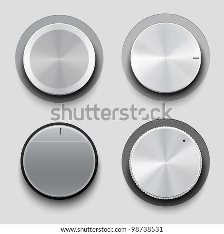 Control knobs set, UI series - stock vector