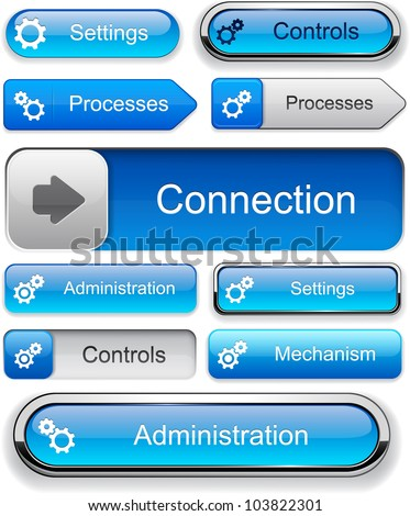 Controls blue design elements for website or app. Vector eps10. - stock vector