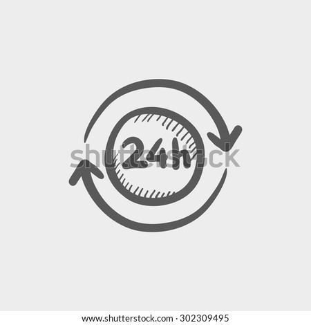 Convenience service 24 hrs sketch icon for web and mobile. Hand drawn vector dark grey icon on light grey background. - stock vector