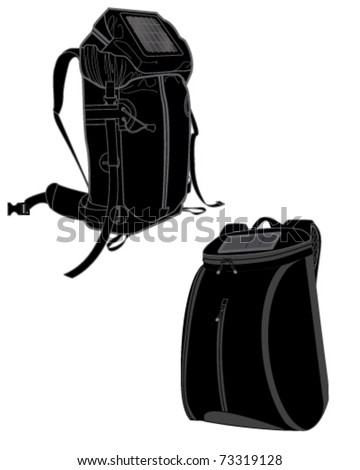 Conventional shoulders backpack solar panels, large-capacity outdoor climbing bag with solar panels, hand-painted Picture on white background, vector - stock vector