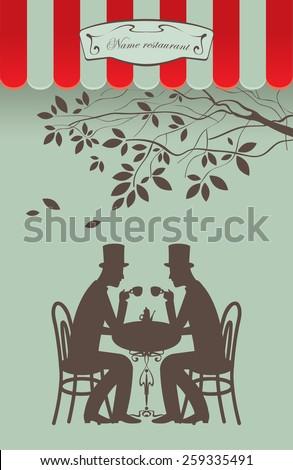 conversation between two gentlemen with a cup of tea - stock vector
