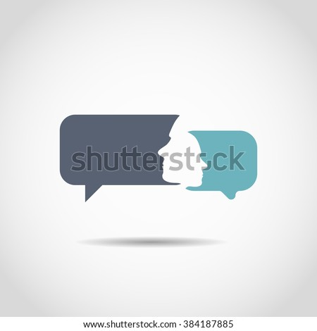 Conversation bubbles with a human face - stock vector