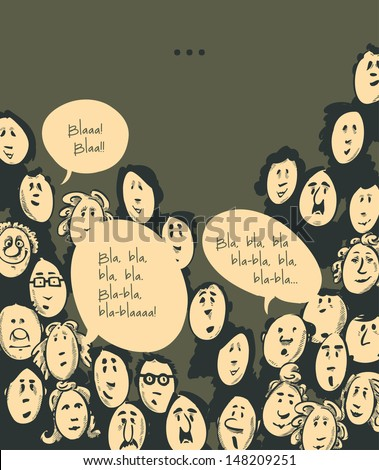 Conversation- cartoon characters- dark background - stock vector
