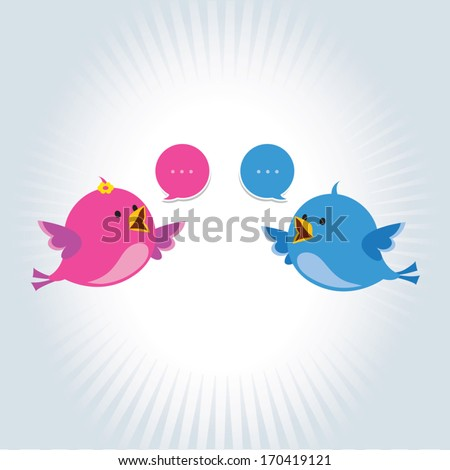 Conversation / Communication. Vector illustration of two little birds communicating with each other. - stock vector