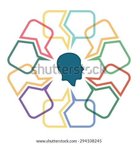 Conversation concept, colorful dialog speech bubbles with human head - stock vector