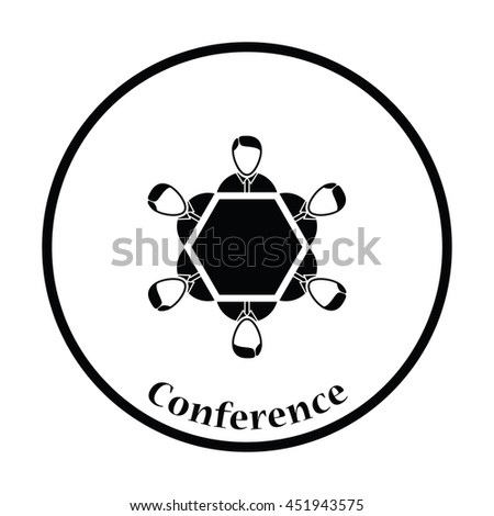 Conversation table icon. Thin circle design. Vector illustration.