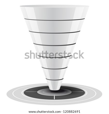 Conversion or sales funnel easily customizable, from 1 to 7 levels plus on target, vector graphics. white and grey tones. - stock vector