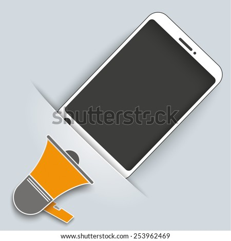 Convert smartphone with bullhorn on the gray background. Eps 10 vector file. - stock vector