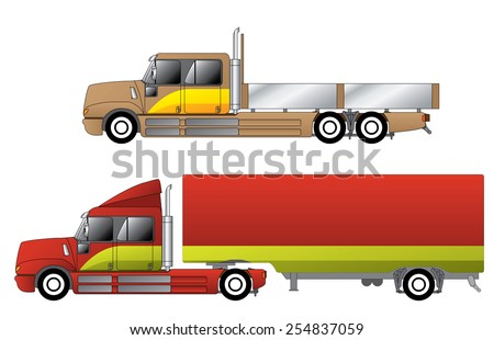 Convetional trucks with double cab and various chassis configurations - stock vector