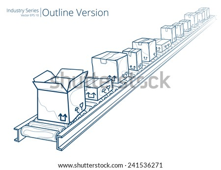 Conveyor Belt. Vector illustration of conveyor belt, Outline Series. - stock vector
