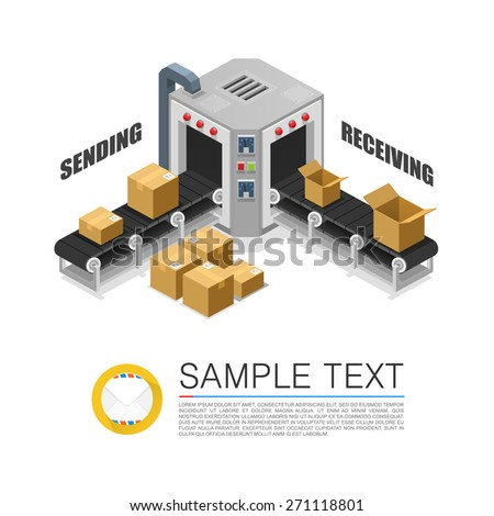 Conveyor packing parcels. Vector illustration - stock vector